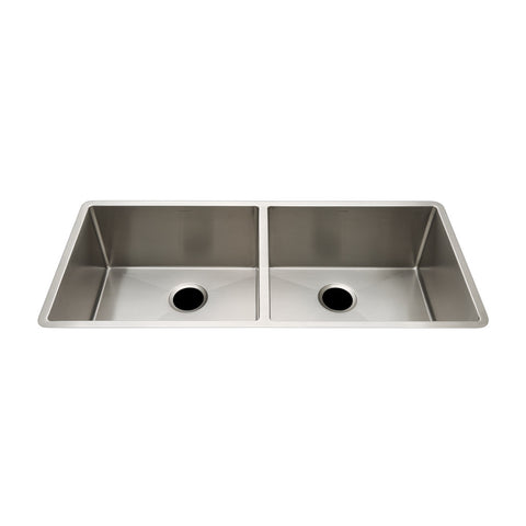 "Kerr 35 3/4"" x 18 1/2"" x 10 5/8"" Twin Stainless Steel Kitchen Sink with Rear Drains"