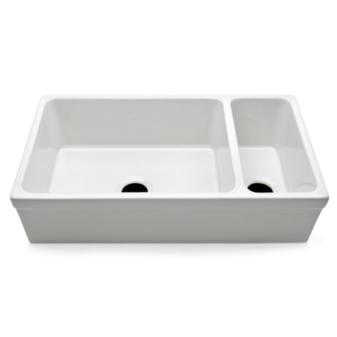 "Clayburn 35 1/2"" x 19 3/4"" x 10"" Double Fireclay Farmhouse Apron Kitchen Sink with Center Drains"