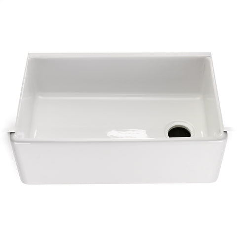 "Clayburn 29 3/4"" x 17 7/18"" x 10"" Fireclay Farmhouse Apron Kitchen Sink with End Drain"