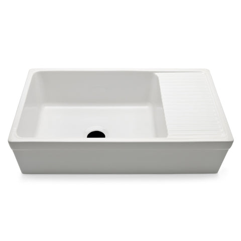 "Clayburn 35 1/2"" x 19 3/4"" x 10"" Fireclay Farmhouse Apron Kitchen Sink with Center Drain and Drainboard"