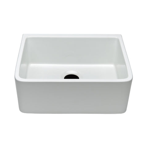 "Clayburn 23 3/8"" x 18 3/4"" x 8 7/8"" Fireclay Farmhouse Apron Kitchen Sink with Rear Drain"