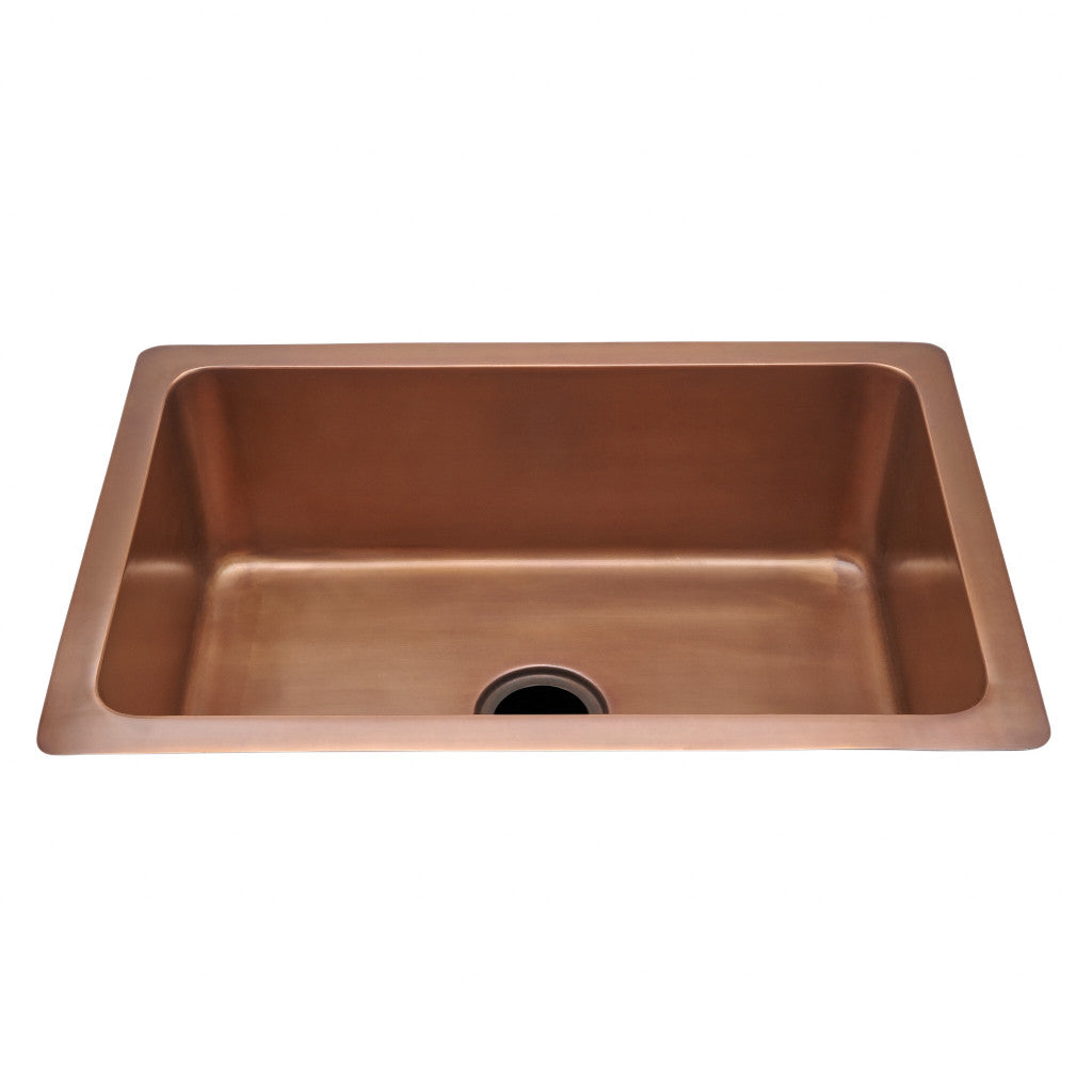 Normandy 30 x 20 x 10 hammered copper kitchen sink with center drain