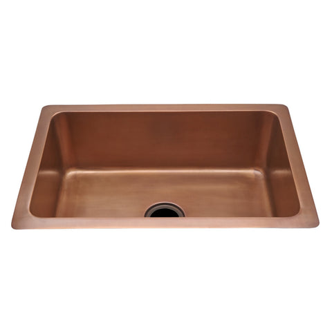 "Normandy 30"" x 20"" x 10"" Hammered Copper Kitchen Sink with Center Drain"