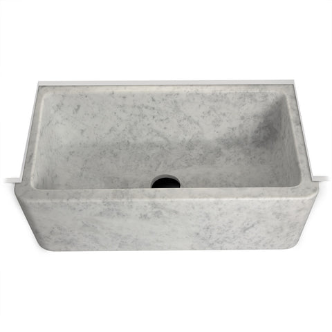 "Titan 29 13/16"" x 17 15/16"" x 7 13/16"" Marble Apron Farmhouse Kitchen Sink with Center Drain"