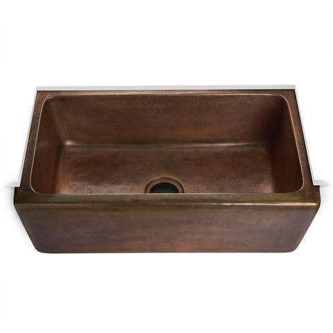 "Normandy 29 9/16"" x 17 11/16"" x 9 5/8"" Hammered Copper Farmhouse Apron Kitchen Sink with Center Drain"