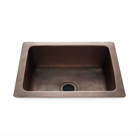 "Normandy 14 15/16"" x 11 7/16"" x 5 11/16"" Hammered Copper Bar Sink with Center Drain"