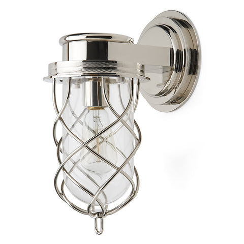 Compass Wall Mounted Single Arm Sconce with Glass Shade