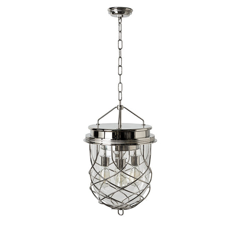 Compass Ceiling Mounted Large Pendant with Glass Shade