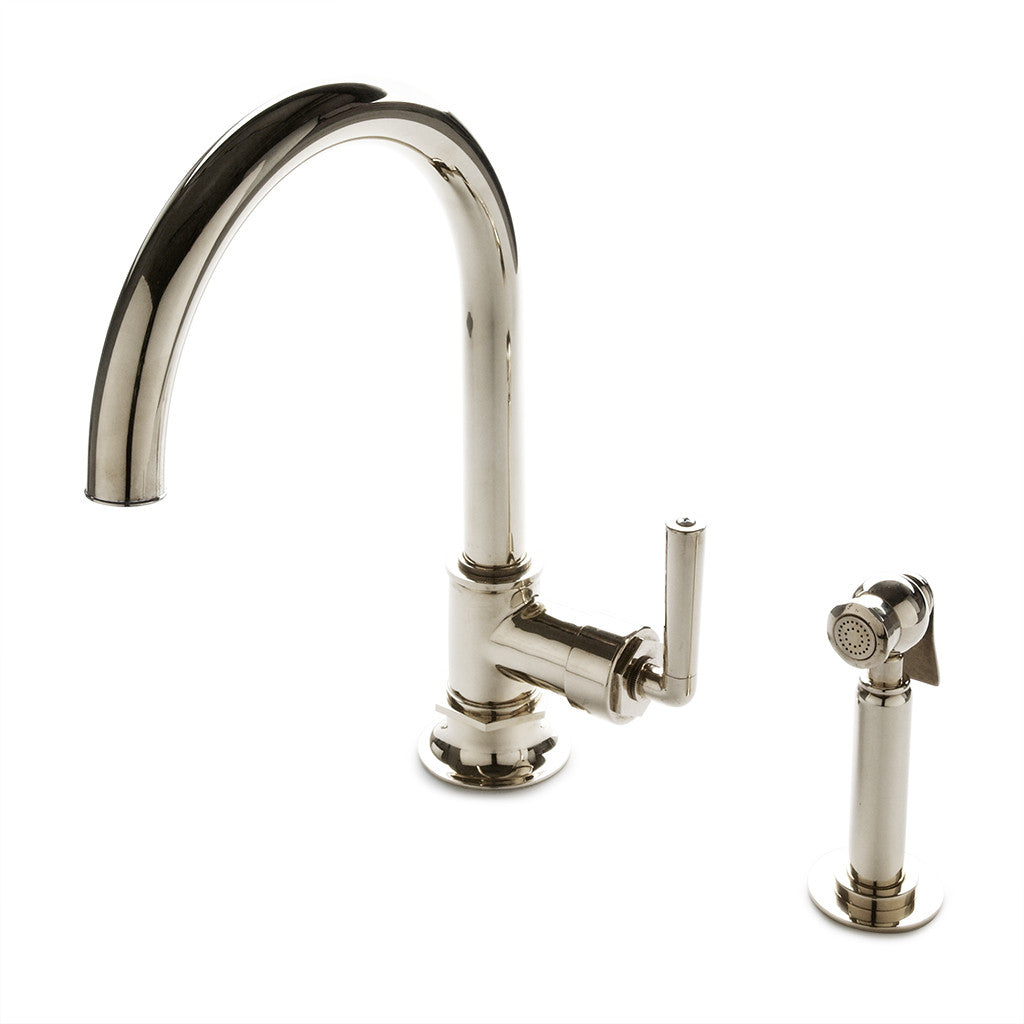 Attirant Henry One Hole Gooseneck Kitchen Faucet, Metal Lever Handle And Spray