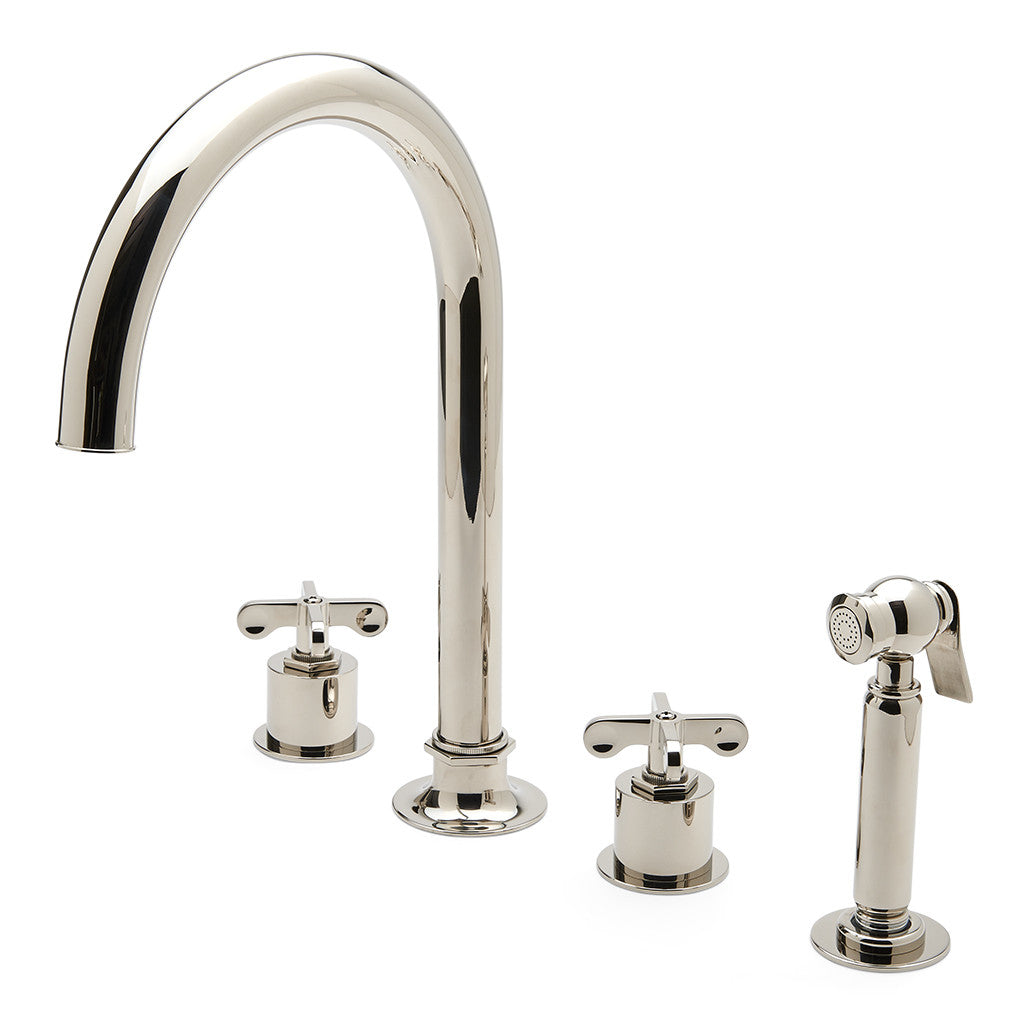 Henry Three Hole Gooseneck Kitchen Faucet Metal Cross Handles And Spr Montaggio
