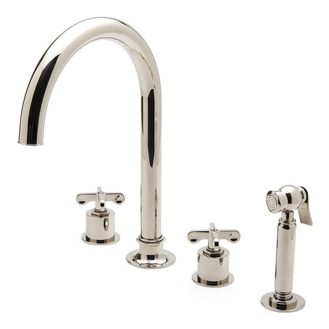 Henry Three Hole Gooseneck Kitchen Faucet, Metal Cross Handles and Spray