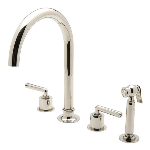 Henry Three Hole Gooseneck Kitchen Faucet, Metal Lever Handles and Spray
