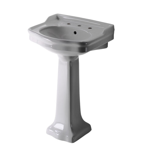 "Palladio Vitreous China Pedestal Lavatory Sink 22 7/16"" x 18 3/8"" x 36 7/8"""