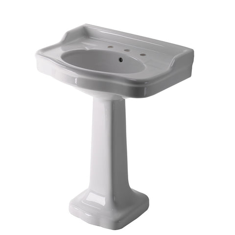 "Palladio Vitreous China Pedestal Lavatory Sink 28 3/8"" x 21 3/16"" x 38 1/8"""