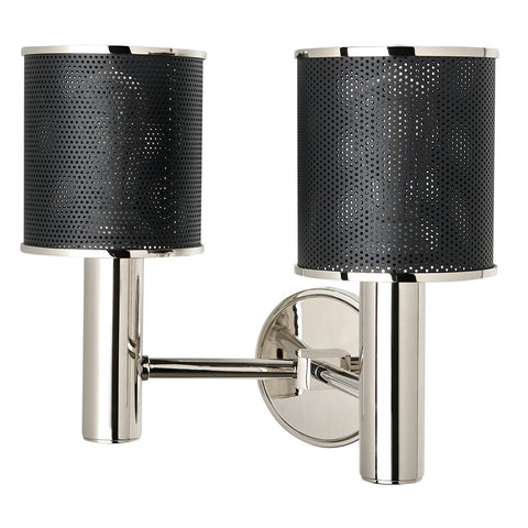 Montecito Wall Mounted Double Arm Sconce with Perforated Shades