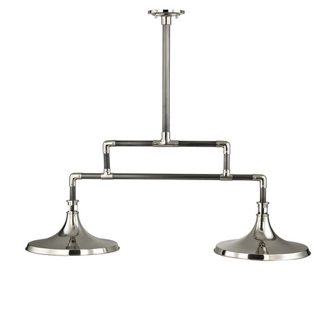 Percy Ceiling Mounted Double Pendant with Metal Shades