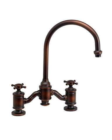HAMPTON BRIDGE FAUCET - C SPOUT - CROSS HANDLES TRADITIONAL
