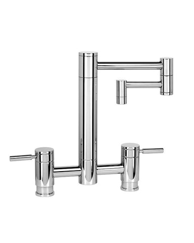 "HUNLEY BRIDGE FAUCET - 12"" ARTICULATED SPOUT - LEVER HANDLES CONTEMPORARY"