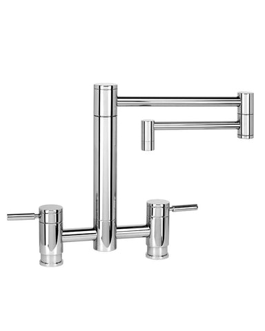 "HUNLEY BRIDGE FAUCET - 18"" ARTICULATED SPOUT - LEVER HANDLES CONTEMPORARY"