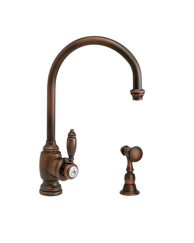 HAMPTON KITCHEN FAUCET - C SPOUT - LEVER HANDLE - w/ SIDE SPRAY TRADITIONAL