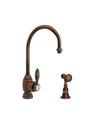 HAMPTON PREP FAUCET - C SPOUT - LEVER HANDLE w/ SIDE SPRAY TRADITIONAL