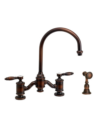 HAMPTON BRIDGE FAUCET - C SPOUT - LEVER HANDLES - w/ SIDE SPRAY TRADITIONAL