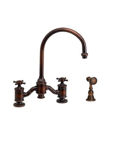 HAMPTON BRIDGE FAUCET - C SPOUT - CROSS HANDLES - w/ SIDE SPRAY TRADITIONAL