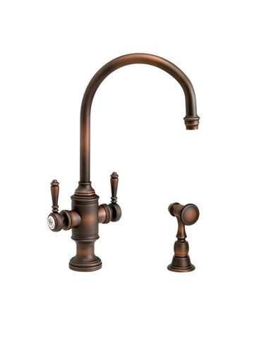 HAMPTON TWO HANDLE KITCHEN FAUCET - C SPOUT - w/ SIDE SPRAY TRADITIONAL