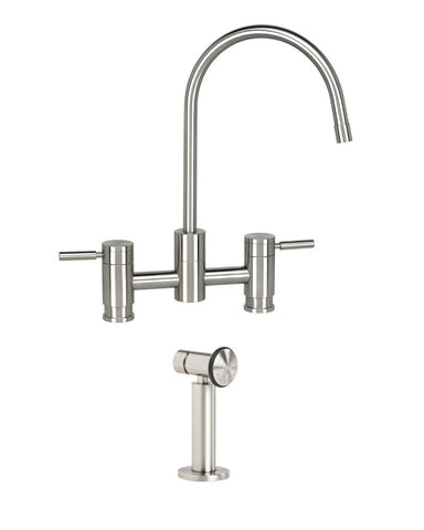 PARCHE BRIDGE FAUCET - C SPOUT - LEVER HANDLES - w/ SIDE SPRAY CONTEMPORARY