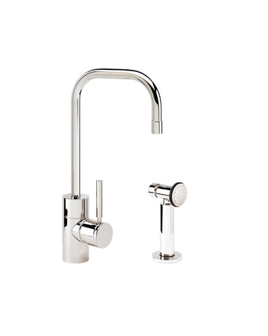 FULTON PREP FAUCET - 2 BEND U-SPOUT - LEVER HANDLE w/ SIDE SPRAY CONTEMPORARY