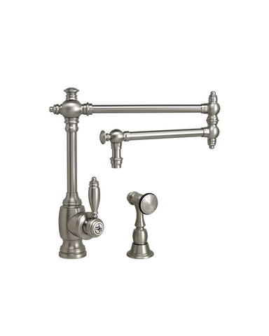 "TOWSON KITCHEN FAUCET - 18"" ARTICULATED SPOUT - LEVER HANDLE - w/ SIDE SPRAY TRADITIONAL"