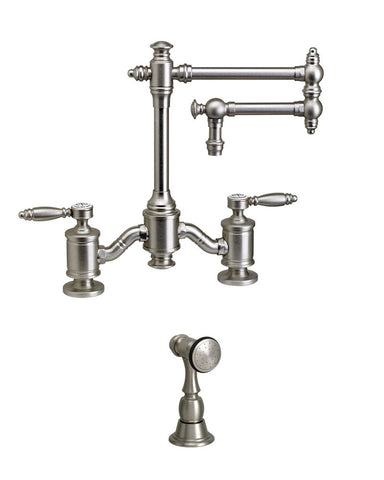 "TOWSON BRIDGE FAUCET - 12"" ARTICULATED SPOUT - CROSS HANDLES - w/ SIDE SPRAY TRADITIONAL"