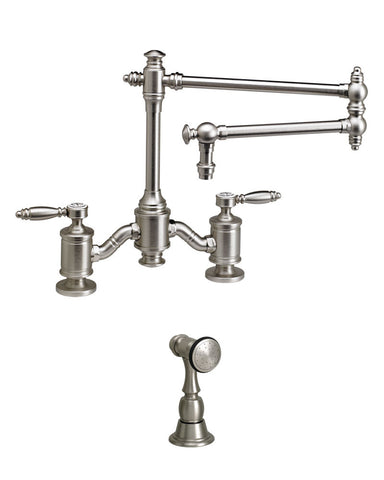 "TOWSON BRIDGE FAUCET - 18"" ARTICULATED SPOUT - LEVER HANDLES - w/ SIDE SPRAY TRADITIONAL"