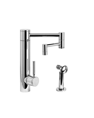 "HUNLEY KITCHEN FAUCET - 12"" ARTICULATED SPOUT - LEVER HANDLE - w/ SIDE SPRAY CONTEMPORARY"
