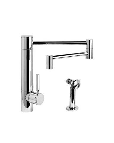 "HUNLEY KITCHEN FAUCET - 18"" ARTICULATED SPOUT - LEVER HANDLE - w/ SIDE SPRAY CONTEMPORARY"