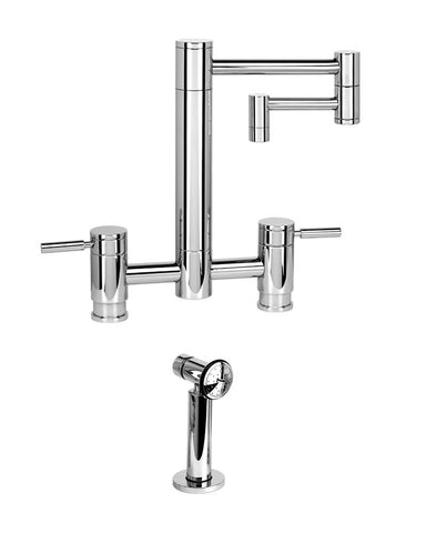 "HUNLEY BRIDGE FAUCET - 12"" ARTICULATED SPOUT - LEVER HANDLES - w/ SIDE SPRAY CONTEMPORARY"