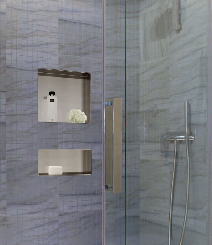"Recessed Stainless Steel Shower Niche : 18"" Wide 6"" Tall"