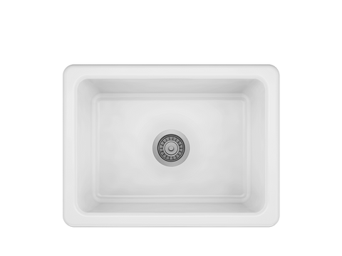 "ProTerra M125 24"" × 18 1/8"" × 9 7/8"" Farmhouse Stainless Fireclay Sink"