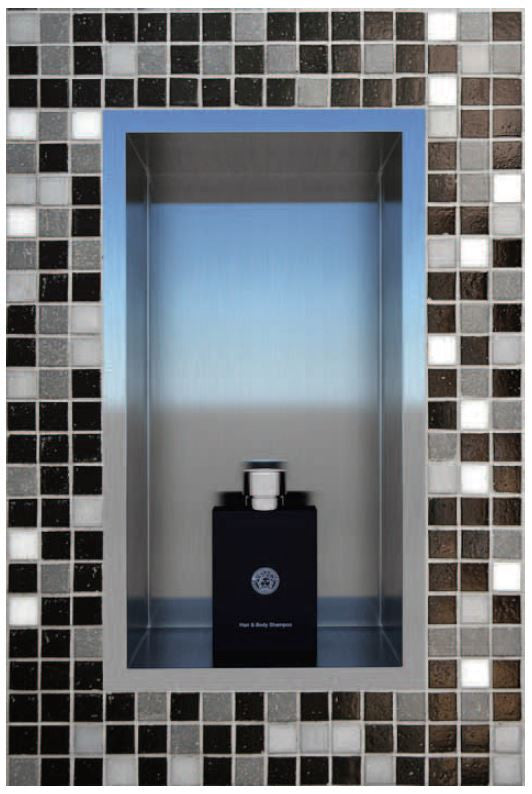 "Flushmount Stainless Steel Shower Niche : 72"" Wide 12"" Tall"