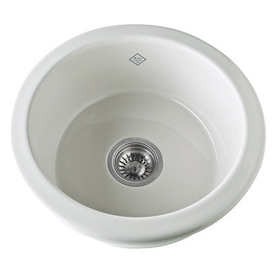 "Shaws 19"" Original Single Bowl Round Bar/Food Fireclay Prep Sink"
