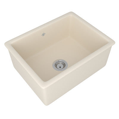 "Shaws 24"" Original (Classic Inset 600) Single Bowl Inset Or Undermount Fireclay Secondary Kitchen Or Laundry Sink"