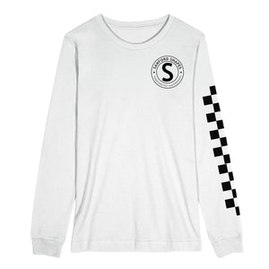 L/S CLASSIC CHECKERED SLEEVE TRI-BLEND : WHITE/BLACK