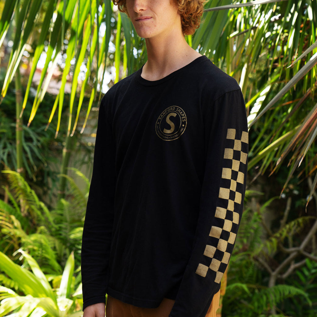L/S CLASSIC CHECKERED SLEEVE TRI-BLEND : BLACK/GOLD