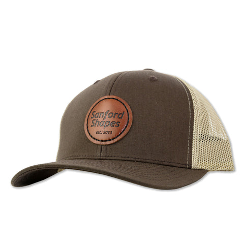 TRUCKER HAT FAUX LEATHER 2 TONE : BROWN/KHAKI