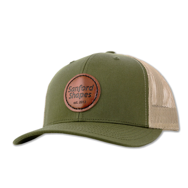 TRUCKER HAT FAUX LEATHER 2 TONE : GREEN/KHAKI