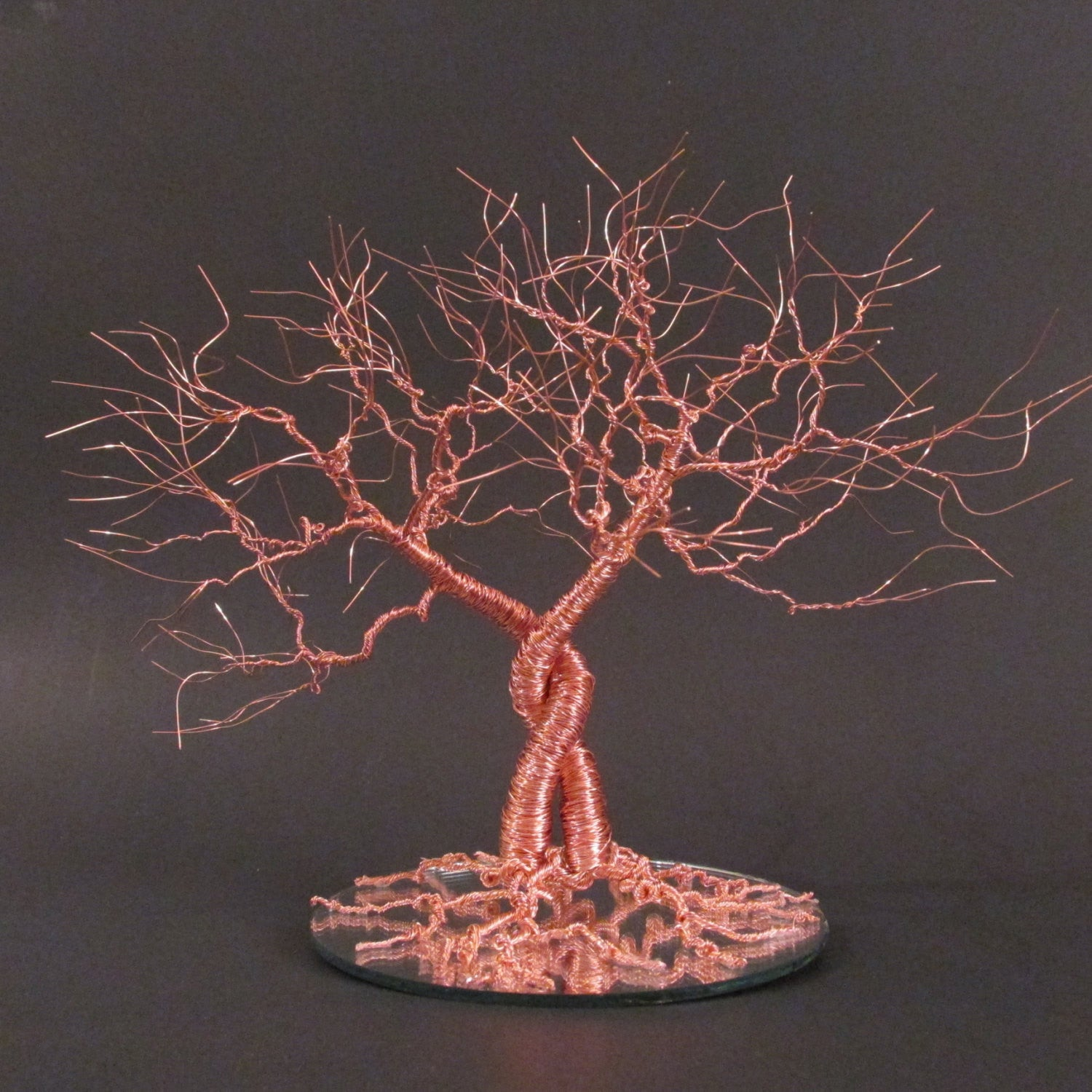 "Copper Wedding Cake Topper ""Entwined Oaks"""