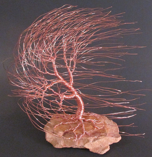 Copper Wire Tree Sculpture of Windswept Willow