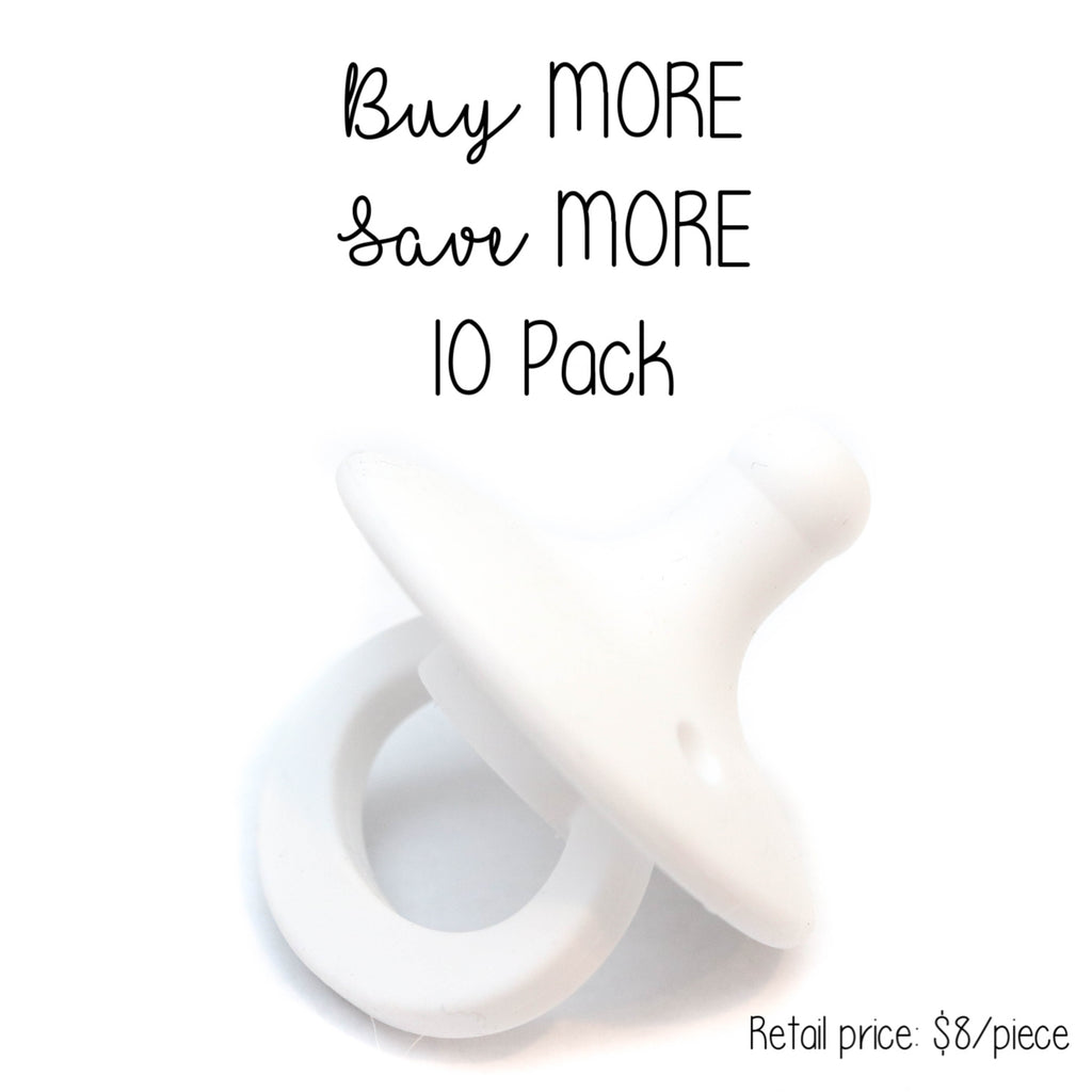 10 Pack OLI pacifier - WHITE - Getting Sew Crafty