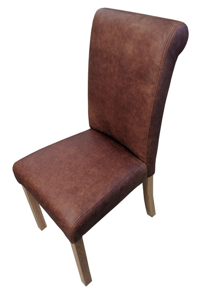 Ingrassato leather rollback oak chair