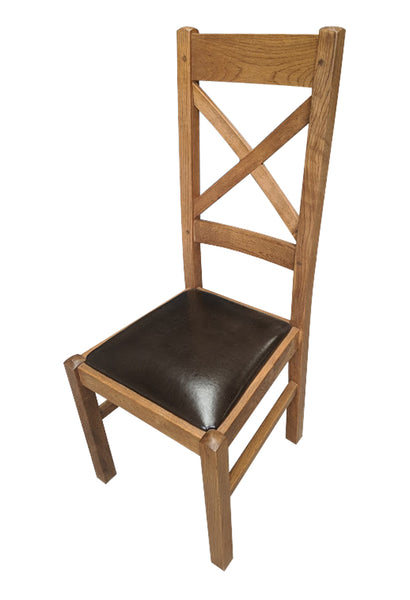 Cross Back Dining Chair - Tudor Oak range